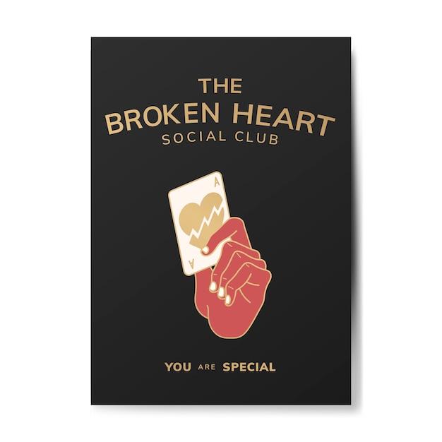 Broken heart social club illustration Free Vector