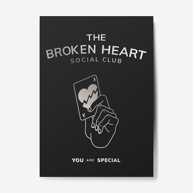 Broken heart social club illustration Free Vector