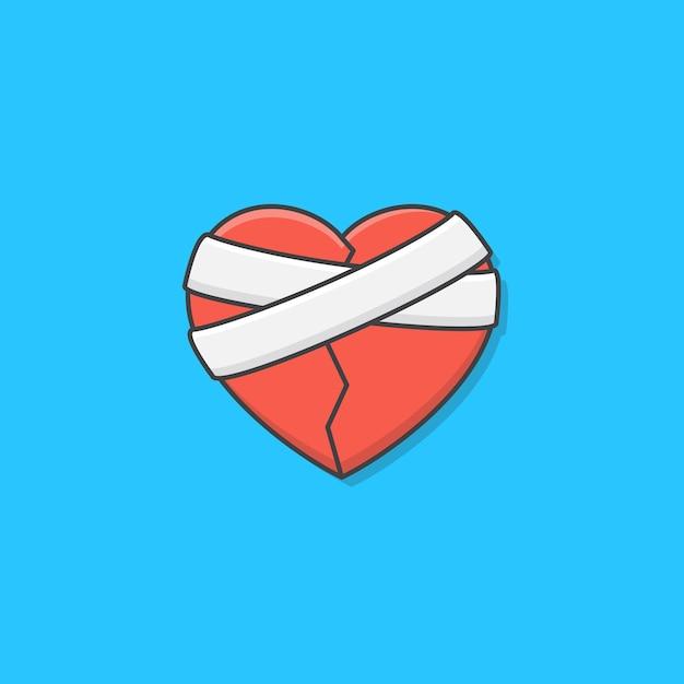 Разбитое сердце с иллюстрацией значка повязки. гипс любовь сердце плоский значок Premium векторы