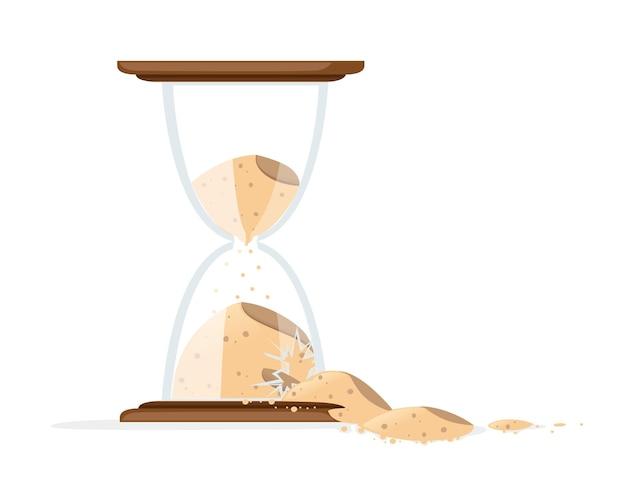 砂を注ぐイラストと壊れた砂時計 Premiumベクター