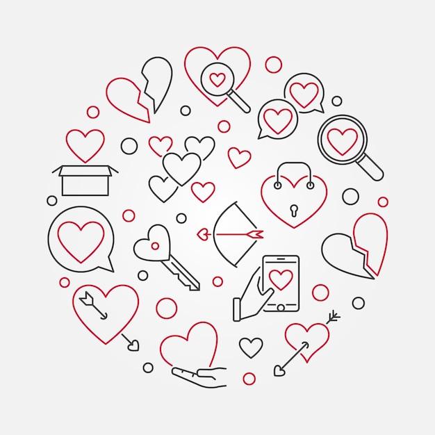 Broken love vector round outline illustration Premium Vector
