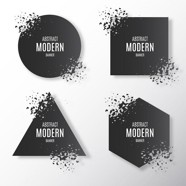 Broken modern banner collection Free Vector