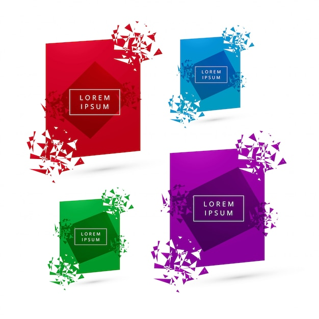 Broken modern banner colorful collection Free Vector