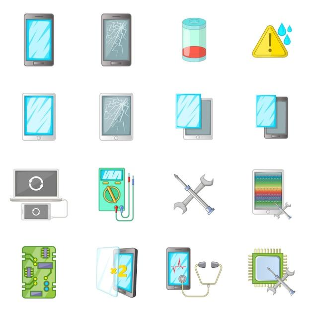 Broken phones fix icons set Premium Vector