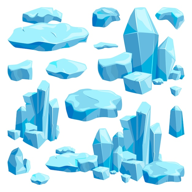 Broken pieces of ice. game design vector illustrations in cartoon style Premium Vector
