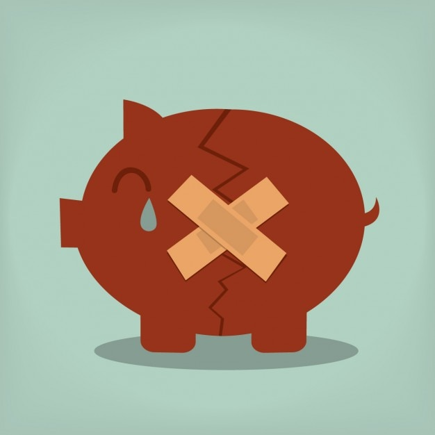 Broken piggybank design Free Vector