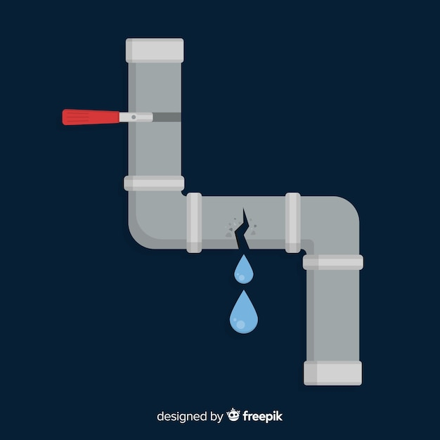 Broken pipe leaking water in flat design Free Vector