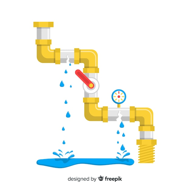 Broken pipe with lever in flat design Free Vector