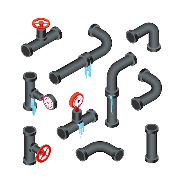 Broken pipes. leaking water pipeline tubes. leakage plumbing system 3d isometric icon vector isolated set Premium Vector