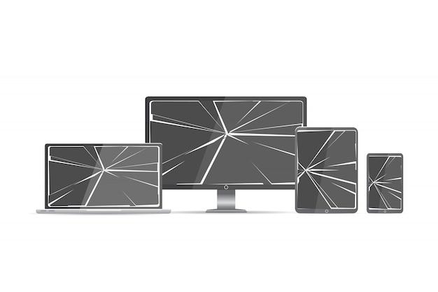 Broken screen set Premium Vector