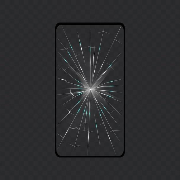 Broken screen smartphone. screen isolated. Premium Vector