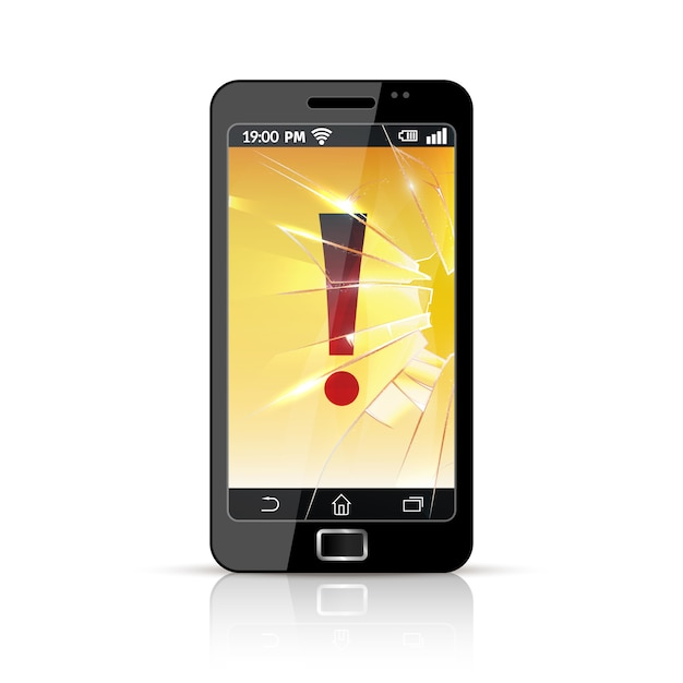 Broken smart phone flat icon Free Vector