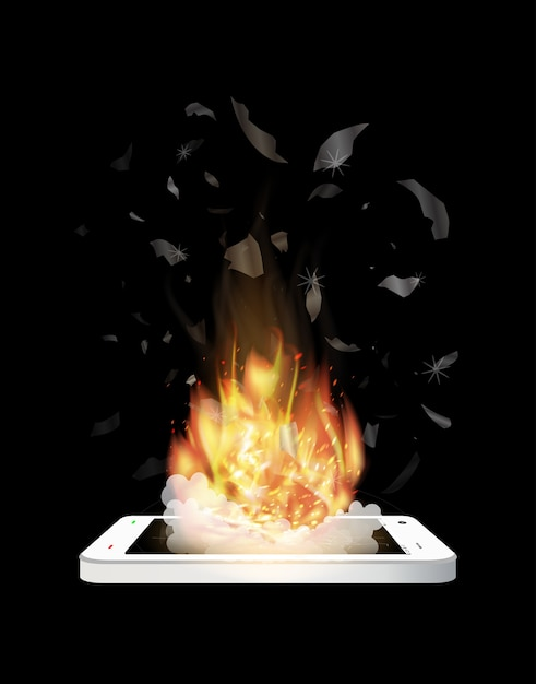 Broken smartphone explosion with burning fire Premium Vector