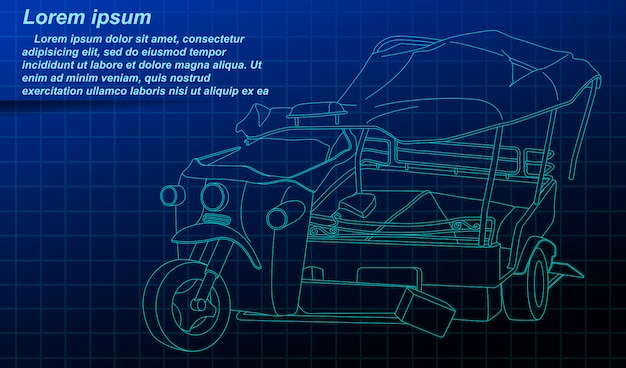 Broken Tricycle Outline On Blueprint Background Premium Vector