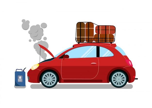 Broken trip automobile flat vector illustration Premium Vector