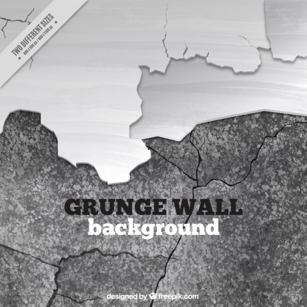 Broken wall in black and white Free Vector