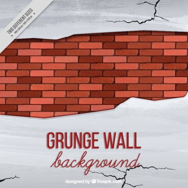 Broken wall with cracks Free Vector