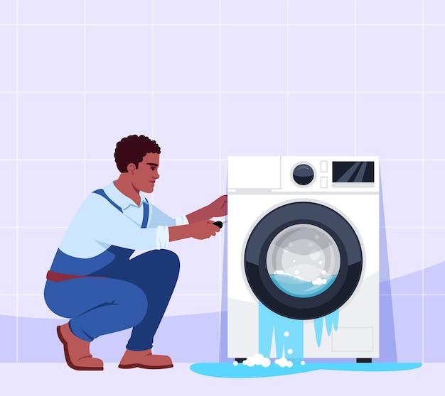 Сломанная стиральная машина и иллюстрация профессионального ремонтника Premium векторы