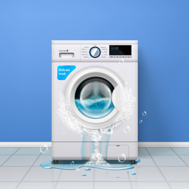 Broken washing machine realistic indoor composition with clothes washer and water pouring out of the door Free Vector