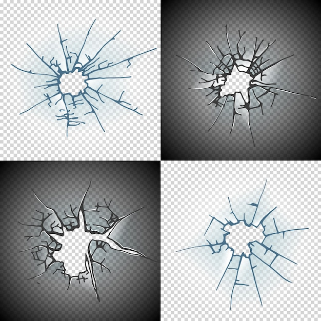 Broken window pane or door cracked hole realistic transparent glass isolated Premium Vector