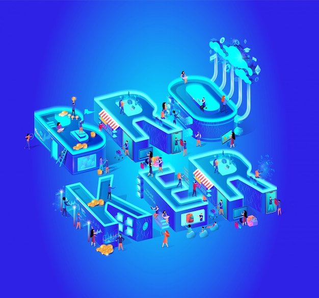Broker vector isometric illustration cloud service Premium Vector