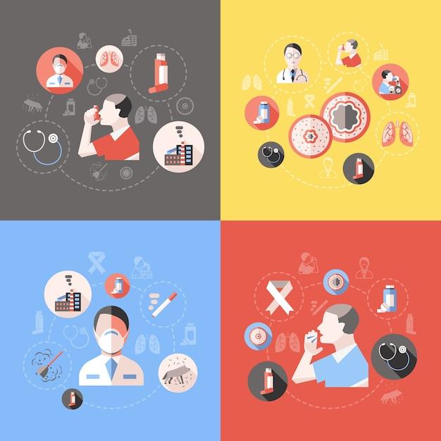 Концепция бронхиальной астмы с симптомами врача и пациента Бесплатные векторы