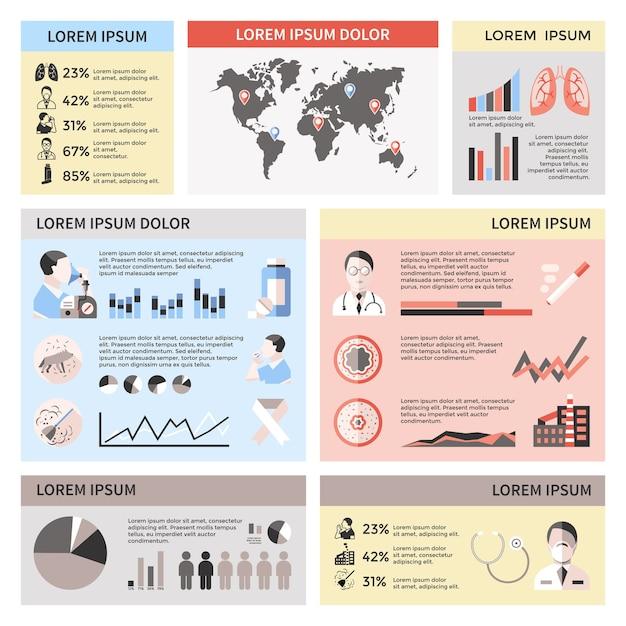 Инфографика бронхиальной астмы с картой мира доктор пациент легкие таблетки графики статистики пыли домашних животных Бесплатные векторы