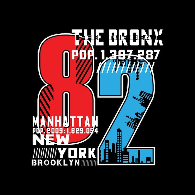 The bronx city typography number t shirt Premium Vector