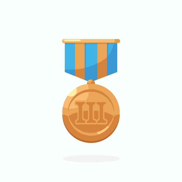 블루 리본이 달린 동메달 3 위 프리미엄 벡터