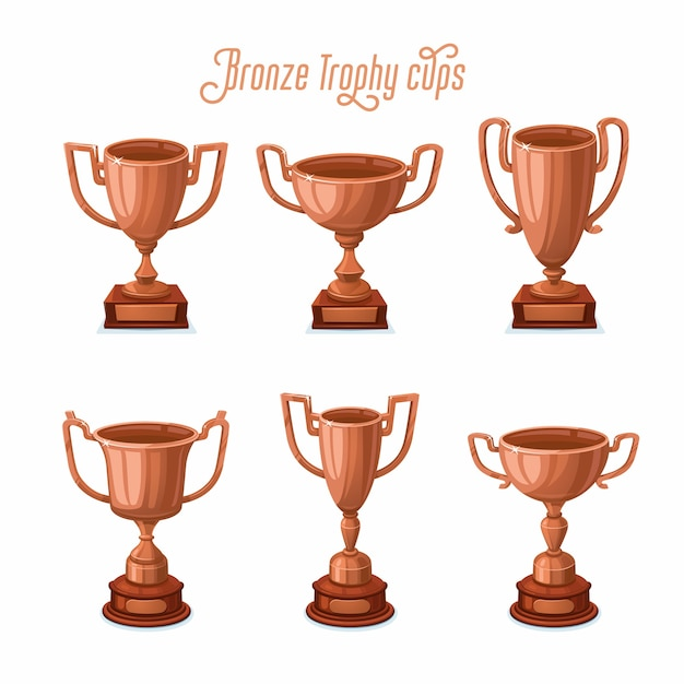 Bronze trophy cups Premium Vector