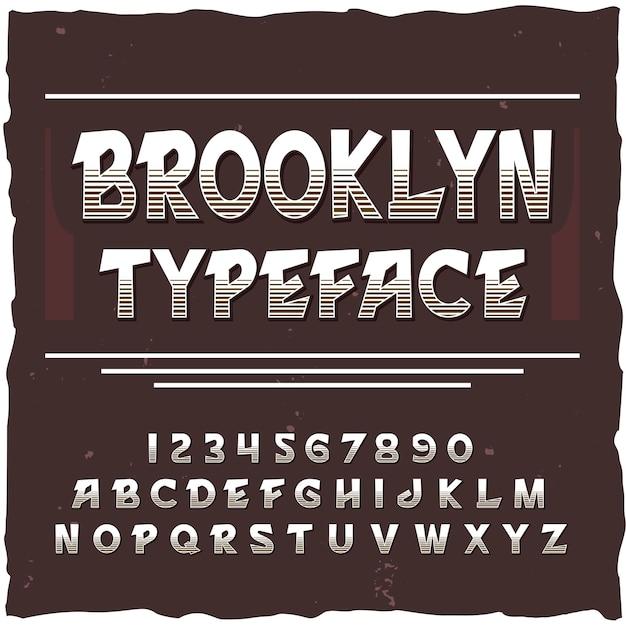 正方形のフレームと線の数字と文字でヴィンテージ書体のブルックリンアルファベット 無料ベクター
