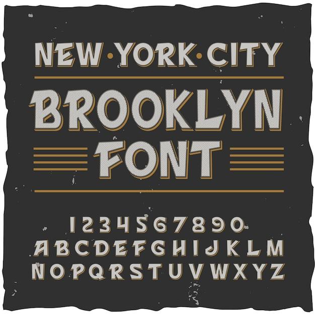 Alfabeto di brooklyn con cornice quadrata e carattere tipografico vintage con linee, cifre e lettere Vettore gratuito