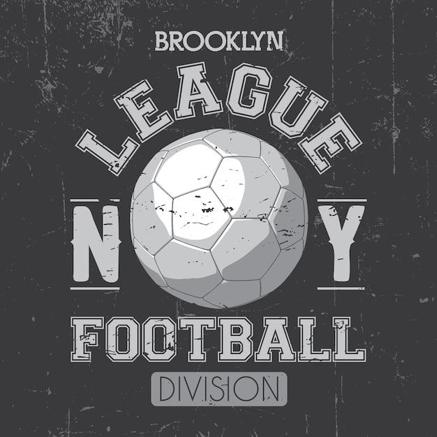 Brooklyn league poster con un pallone da calcio e una divisione di parole su grigio illustrazione Vettore gratuito