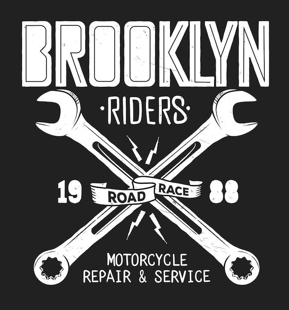 Бруклинская служба ремонта винтажной рубашки с принтом. Premium векторы