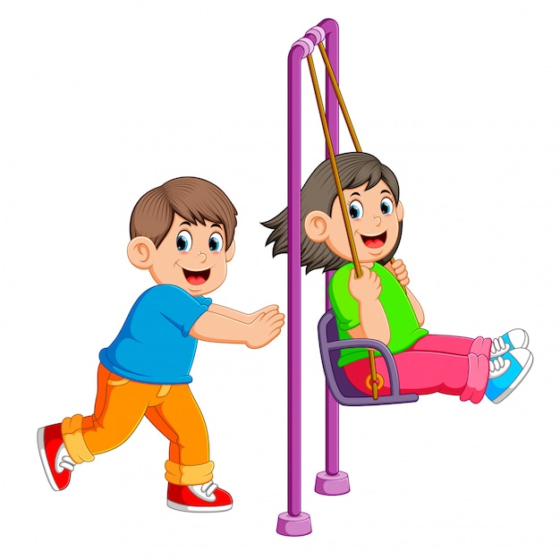 Brother pushing sister on swing Premium Vector
