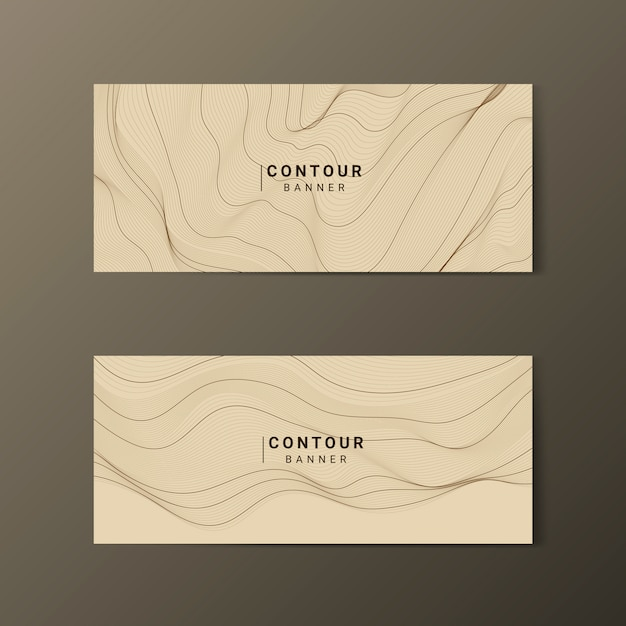 Brown abstract map contour lines banners set Free Vector
