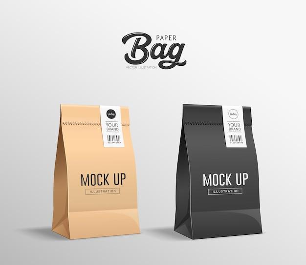 Коричневый и черный бумажный пакет в сложенном виде, на сумке для рта есть наклейки, дизайн коллекции макетов, на сером фоне Premium векторы