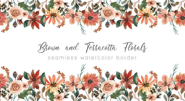 ブラウンとテラコッタの花柄水彩シームレスボーダー Premiumベクター