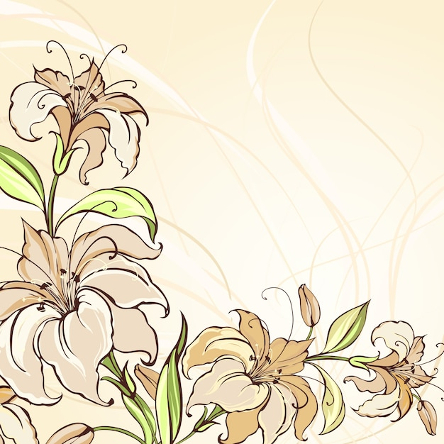 Brown background with blooming lilies Free Vector