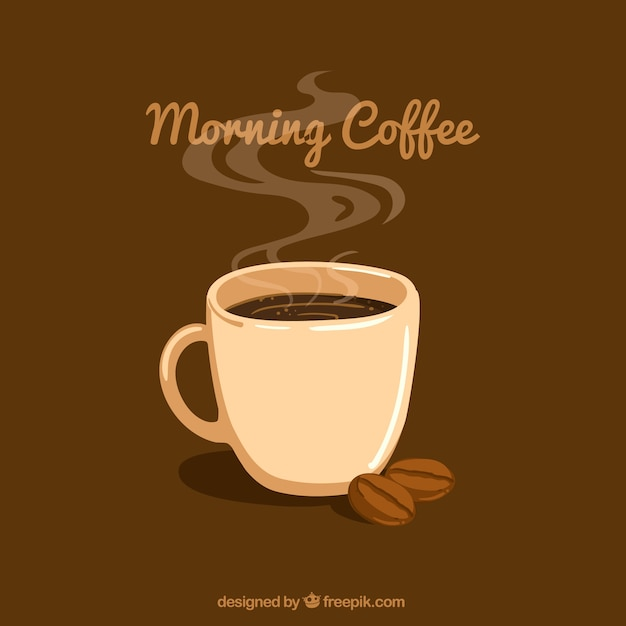 Brown background with coffee mug and coffee\ beans