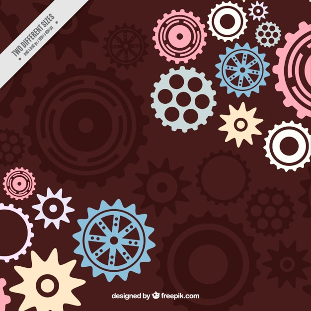 Brown background with gears in pastel colors Free Vector