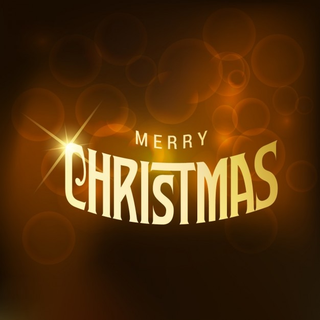 Brown background with golden christmas text Free Vector