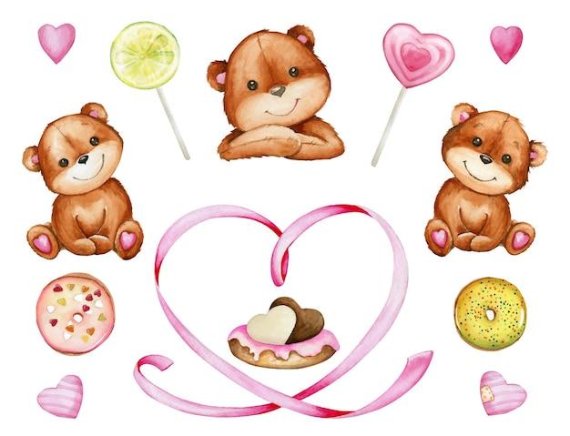 Бурые медведи, сердце, сладости, торт. акварельный набор элементов для дня святого валентина на изолированном фоне. Premium векторы