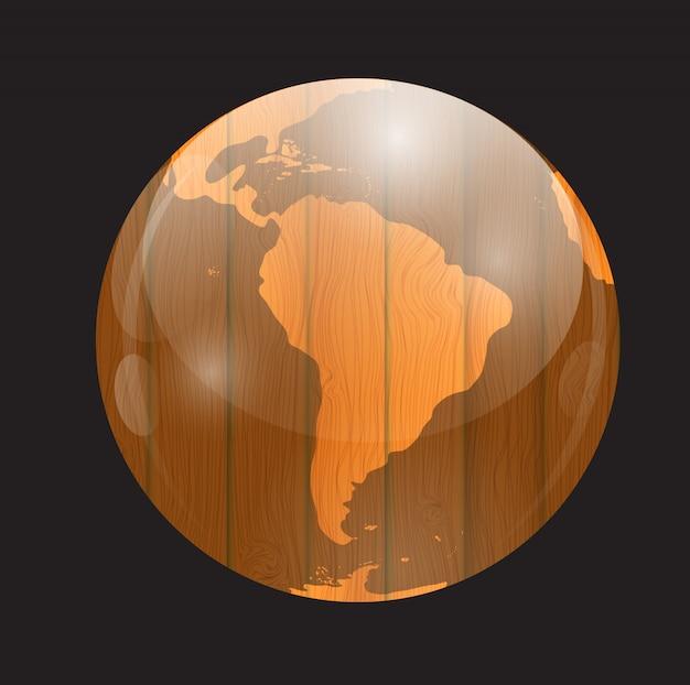 Brown boards world map vector illustration Premium Vector