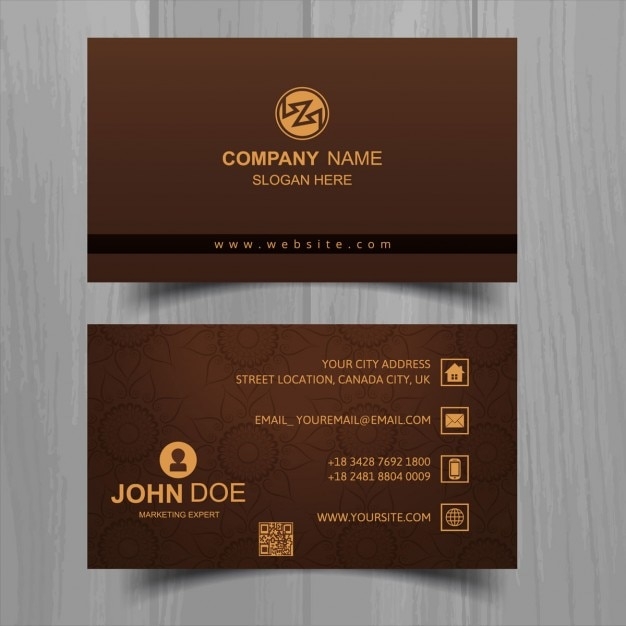 Brown business card with floral elements vector free download brown business card with floral elements free vector reheart Image collections