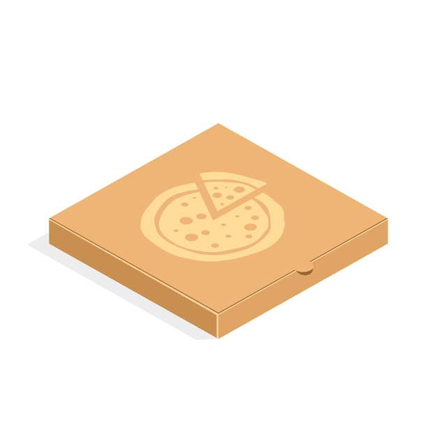 플랫 스타일의 갈색 카톤 포장 피자 상자. 고립 된 피자 골 판지 상자입니다. 프리미엄 벡터