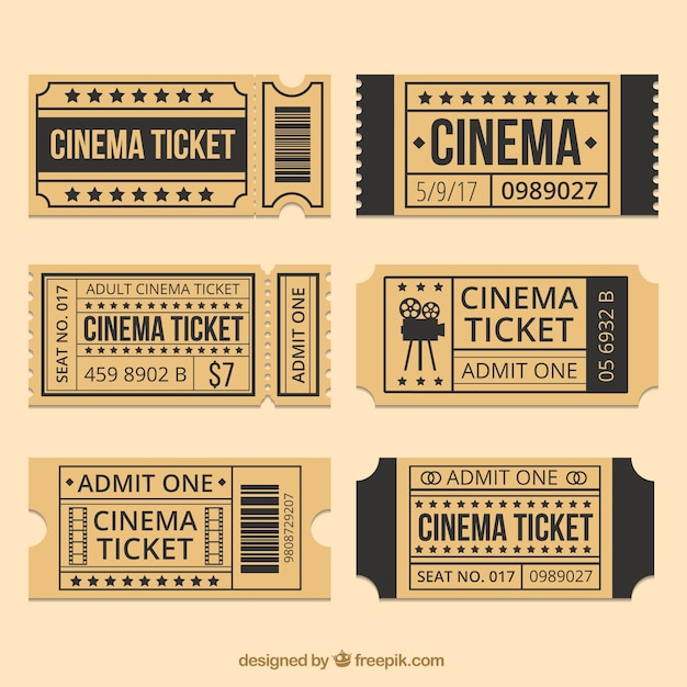 Brown cinema tickets with black details vector free download for Fake movie ticket template
