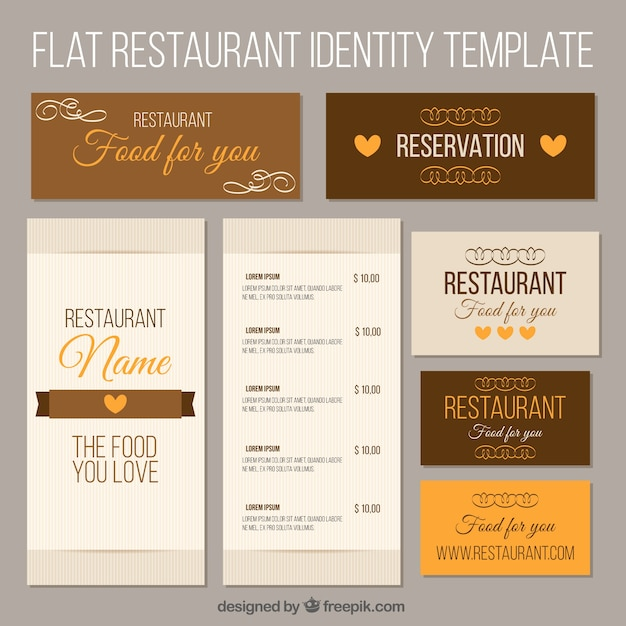 Brown corporate identity for a restaurant