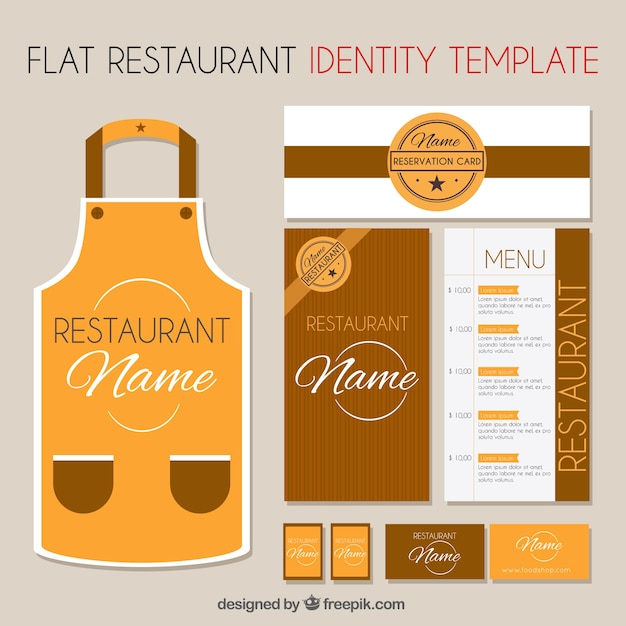 Brown corporate identity template for a restaurant