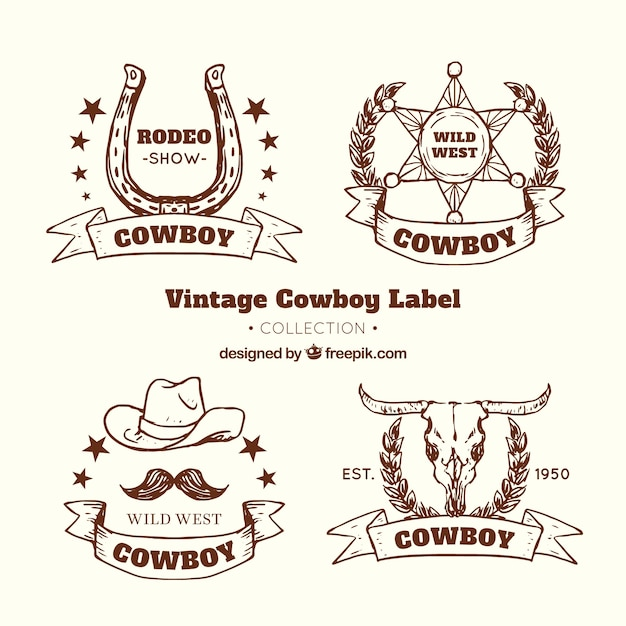 Brown cowboy label collection Free Vector